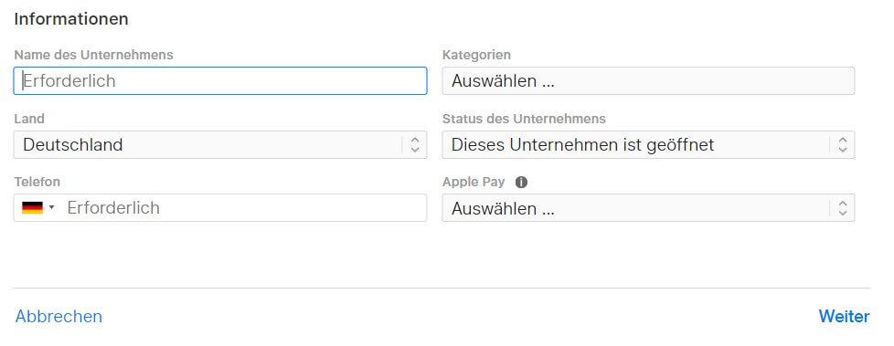 Apple Maps Eintragen Informationen