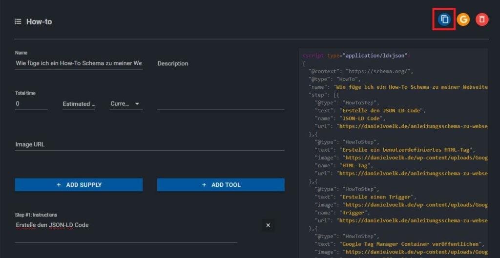 JSON-LD Code speichern