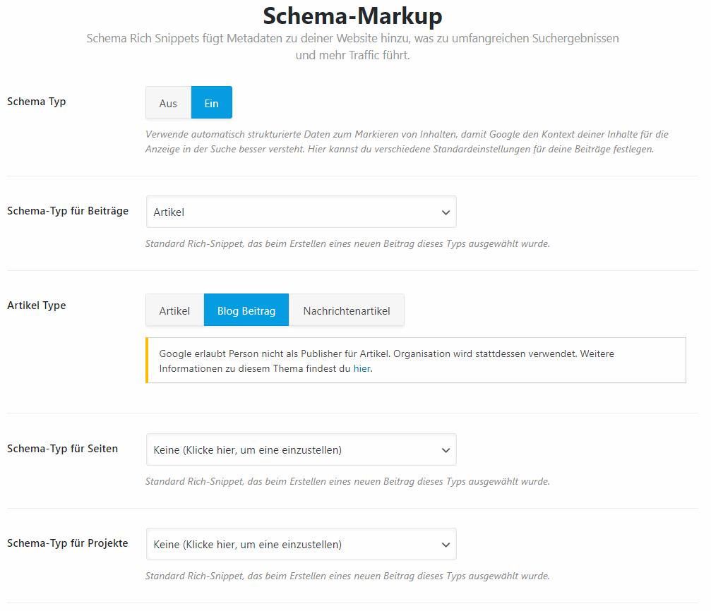 Rank Math SEO Schema Markup richtig konfigurieren