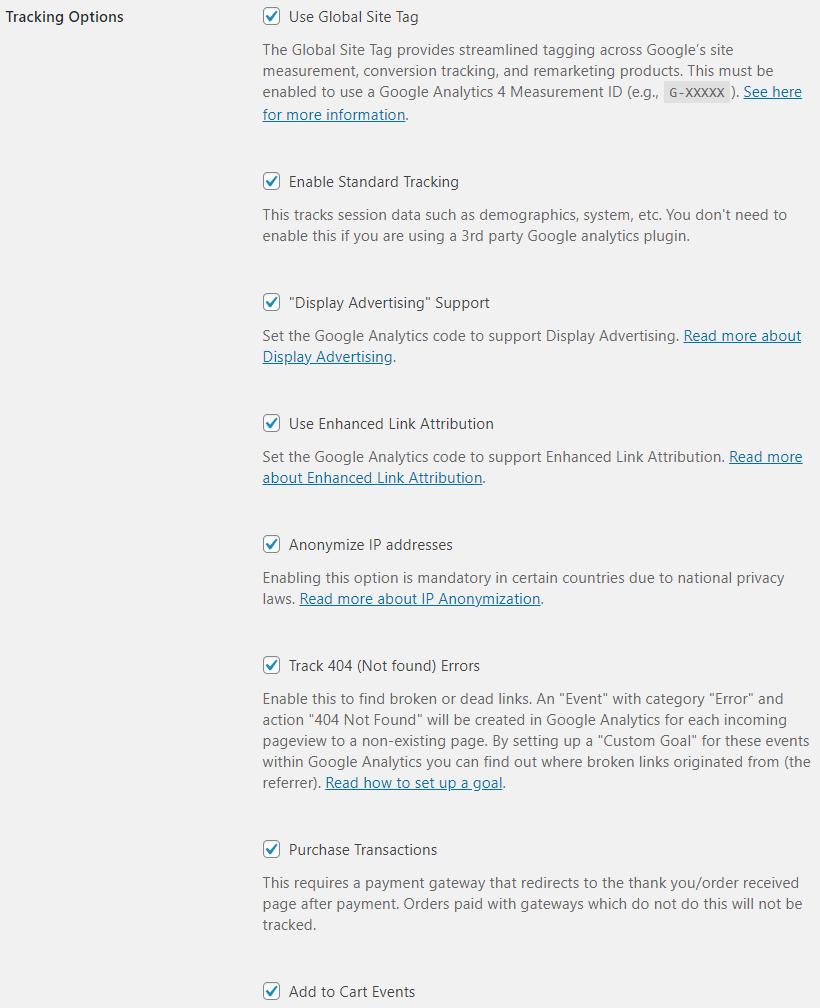 WooCommerce Analytics Tracking Options