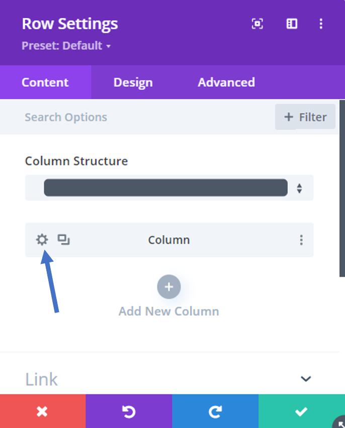 column settings divi filter