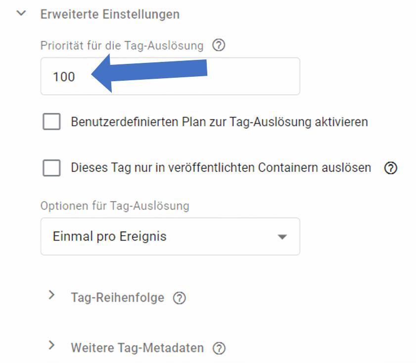 google tag manager priorität einfügen