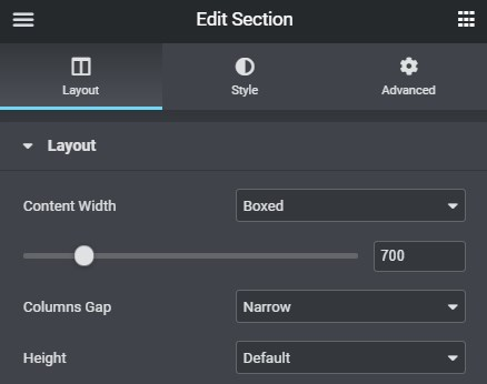 section settings button