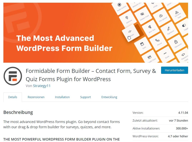formidable forms kostenlose version